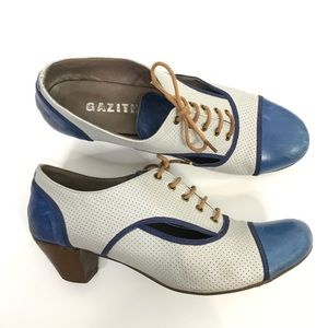 Gazith Blue Cream Leather Oxford Heels Lace Up